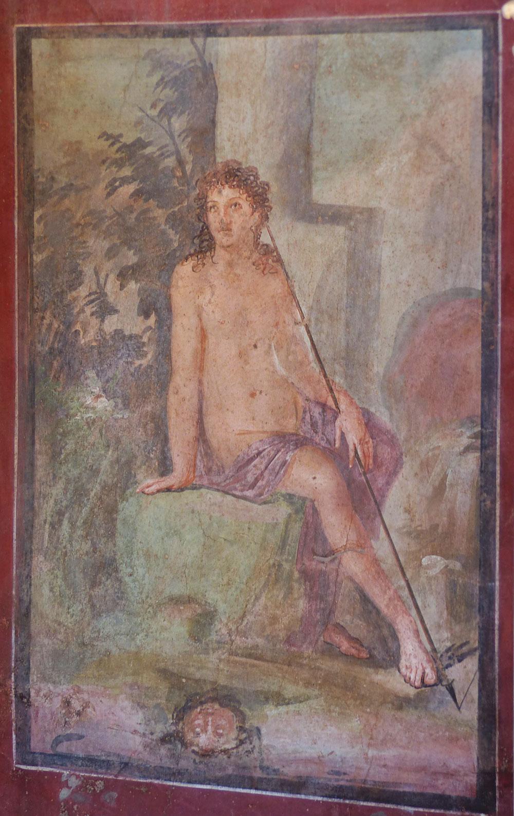 Anónimo (taller romano): Narciso (siglo I a.C.) pintura al fresco de la Casa de Ottavio Quartione de Pompeya, Museo Arqueológico Nacional de Nápoles.